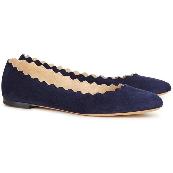 Womens Ballet Flats Chloé Navy Scalloped Suede Ballet Flats ($445) ❤ liked on Polyvore featuring shoes, flats, navy suede shoes, ballerina shoes, ballet pumps, chloe shoes and round toe flats