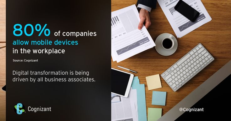 80% allow mobile devices in the workplace.  _______________  Bring Your Own Device: A Strategic Primer for Forward-Thinking Businesses http://cogniz.at/BYODs  _______________  #BYOD #IoT #Analytics #Futureofwork #futuristic #tech #vr #AI #smartphones #worklife #digital #hr #talent #cio #ceo #officelife #technology #mobility #mobile #enterprisemobility #internet #social #socialmedia #online by cognizant