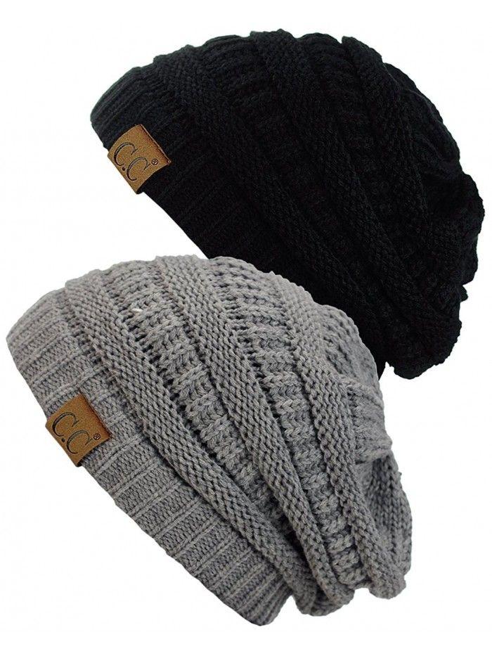 45fae5b9212 Trendy Warm Chunky Soft Stretch Cable Knit Beanie Skully- 2 Pack -  Beige Dark Olive - C5185UKAK05 - Hats   Caps