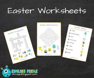 English Freak   Blog o nauczaniu języków obcych: EASTER WORKSHEETS: WORD SEARCH, CROSSWORD & MATCHI...