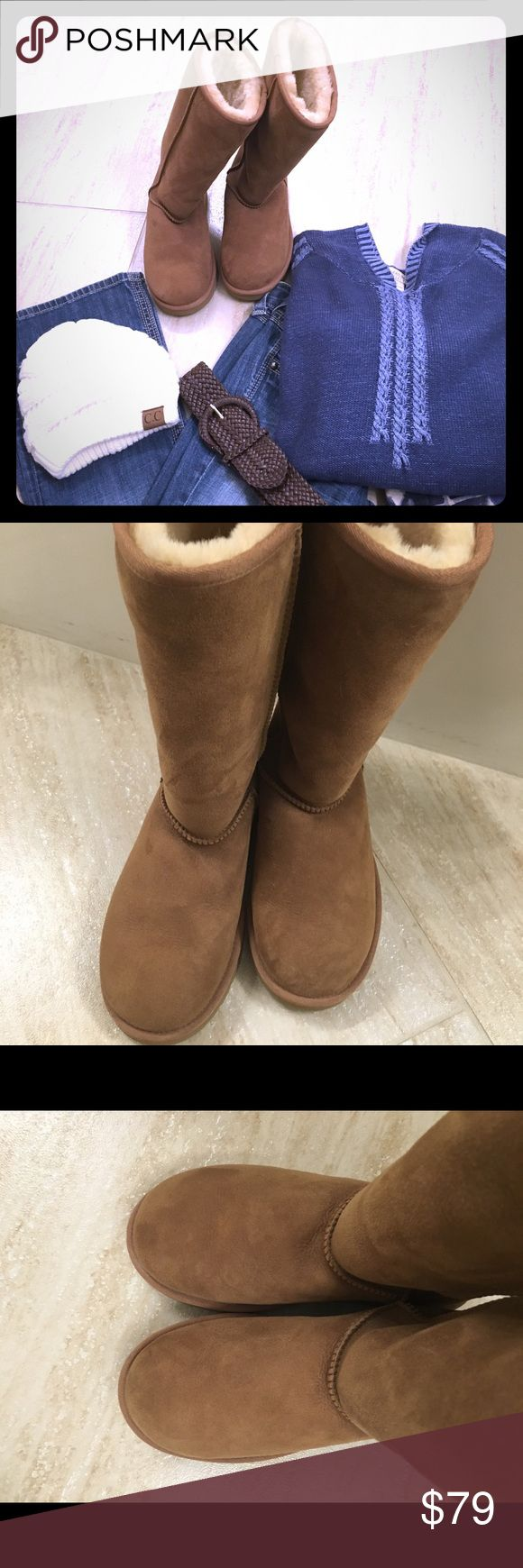 """Original Tall Australian Uggs (Cream) These genuine original tall Uggs are in pristine condition. I only wore them a couple of times because they were too tight on me! Original tall Uggs with 11 3/4"""" shaft height. They deliver Uggs signature comfort with Twin Faced sheepskin and a plush wool insole and light weight flexible outsole. Eva model. No stains or scuffs that I can see! Excellent buy for someone to snatch up! UGG Shoes Winter & Rain Boots"""