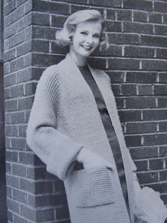 PDF Knitted Sweater Coat Pattern 1950's by vintageknitcrochet