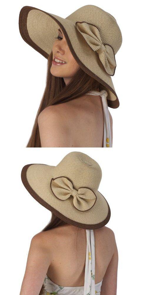 162001e9db869 Luxury Lane Women s Beige Ribbon Sun Hat Sun Hats