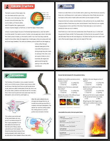 Let's learn about Natural Disasters!  This NO PREP bundle includes 103 pages with a great variety of activities, exercises and puzzles about natural disasters.  The following worksheets are included:  Blizzards  Earthquakes  Floods  Hurricanes  Landslides  Tornadoes  Tsunamis  Wildfires  Volcanic Eruptions