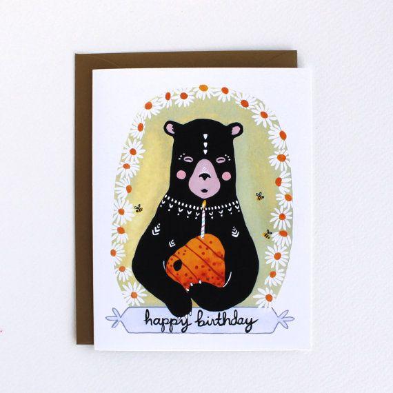 Un felice compleanno orso carta e busta oro scintillante    4 1/4 x 5 1/2  Vuoto interiore    Confezionati con cura in una guaina protettiva del