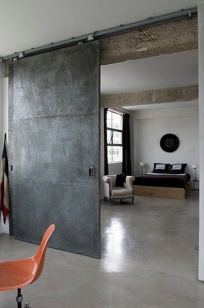 Dream #loft of the day - loving this huge industrial metal sliding door
