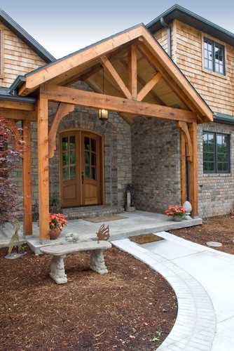 Exposed beams beams and entrance on pinterest for Open beam front porch