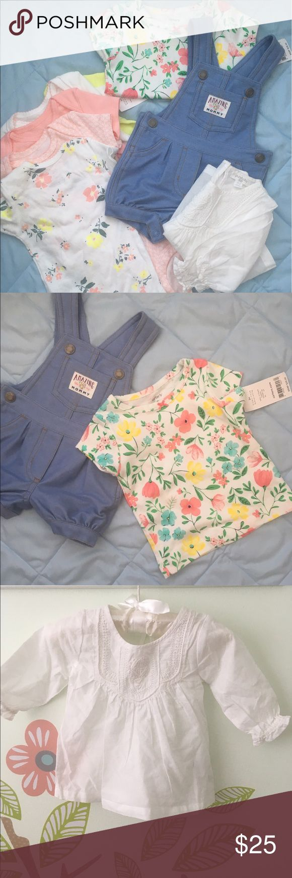 8 PIECE BABY GIRL  BUNDLE CARTER'S Short overalls -57%cotton /36% polyester - includes original tags . PUREBABY White long sleeved top- 100%organic cotton -no tags . CARTER'S 5 set onesies -  100% cotton with original tags . Make me an offer :) Matching Sets
