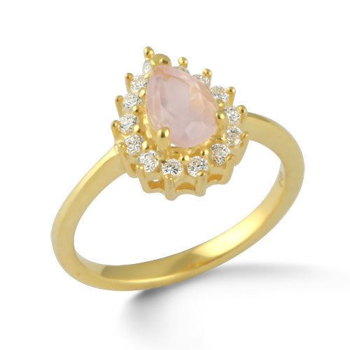 Fine 925 Sterling Silver Ring Rose Quartz Stone 18K Gold Overlay Jewelry SZ 6 #Rinnga