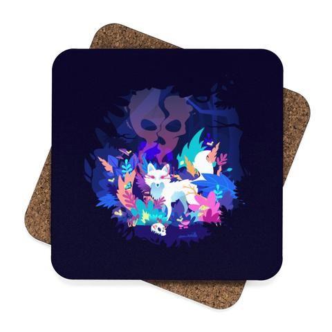Fox of the Dream Forest Square Hardboard Coaster Set - 4pcs