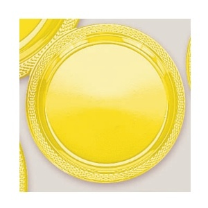"Plastic Yellow Sunshine Dessert Plates. There are 20 Solid Colour Plastic 7"" Dessert plates per package. They come in 22 colours and are a great party accessory where you want to match a colour and you also want a plate that is stronger than paper."
