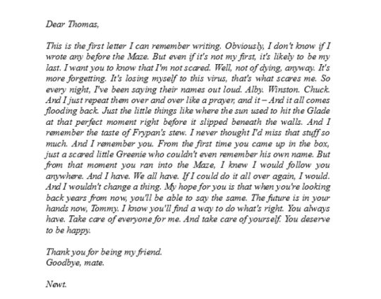 Newt´s letter to Thomas. - The Death Cure
