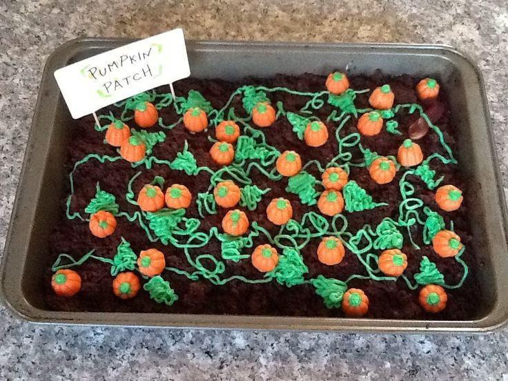 """Pumpkin patch cake even has gummy worms in the """"dirt""""...this is what I'm making for our harvest party and front porch. It's so yummy!! It's an annual tradition. So fun to make"""