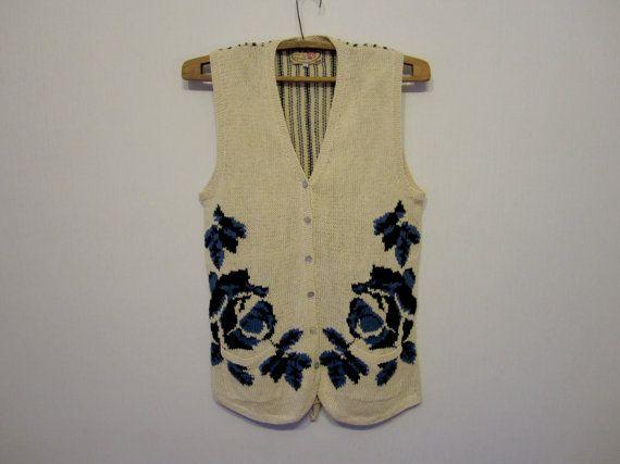 Donne maglia floreale bianco avorio Vest gilet romantico paese medie dimensioni fiori blu