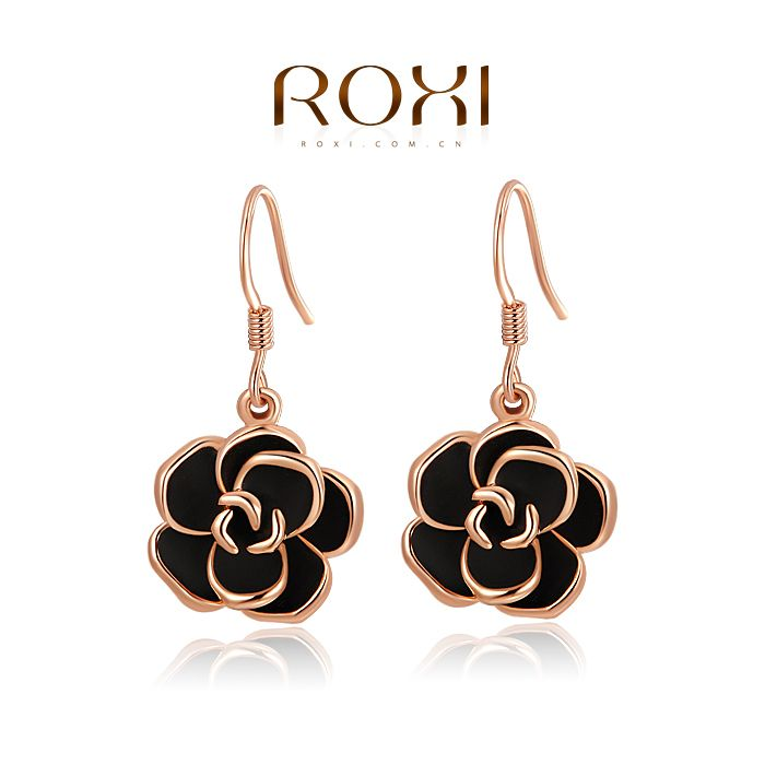 ROXI Christmas rose earrings,Gift to girlfriend is the most beautiful,Pure hand-made bring you different elegant,2020001310