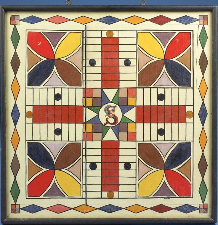 Antique Painted Parcheesi Gameboard (10) sold by Northeast Auctions
