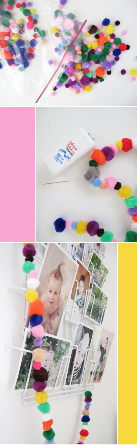 Pompom garland. It looks sooo nice! Our girl used lot of different pom poms.. It would be nice in the christmas tree too.. (we used pom poms with glitter thread as well). Easy & our girl liked it.