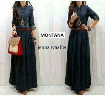 Dress Maxi MONTANA Plus Belt Bahan Jeans Washed