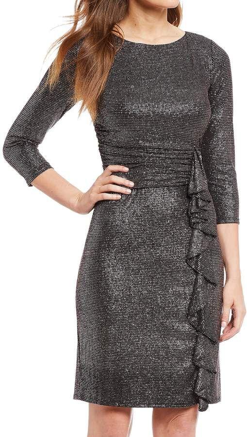 95b4e6e13c06e Jessica Howard Metallic Ruched Waist Cascade Ruffle Sheath Dress  Metallic  Ruched Jessica