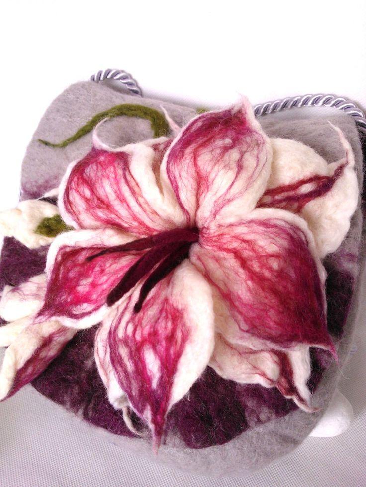 Big Flower Purple Felted Bag Handbag Felt Pastel Colours Boho Art Shoulder Bag Burgundy by FeltBagsbyMarta on Etsy
