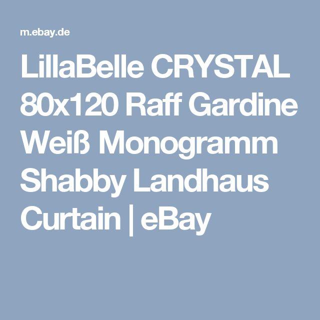 LillaBelle CRYSTAL 80x120 Raff Gardine Weiss Monogramm Shabby Landhaus Curtain