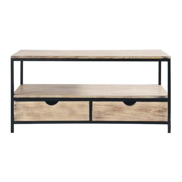 Solid wood and metal industrial TV unit in black W 117cm