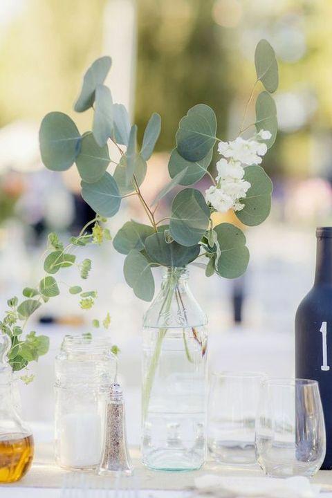 simple eucalyptus centerpiece in a vase