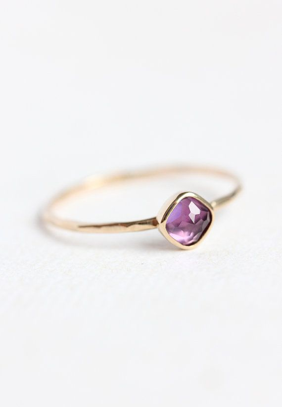 14k gold & rose cut amethyst stacking ring, february birthstone, solid gold, thin gold ring, radiant orchid, purple gemstone, size 4 to 9