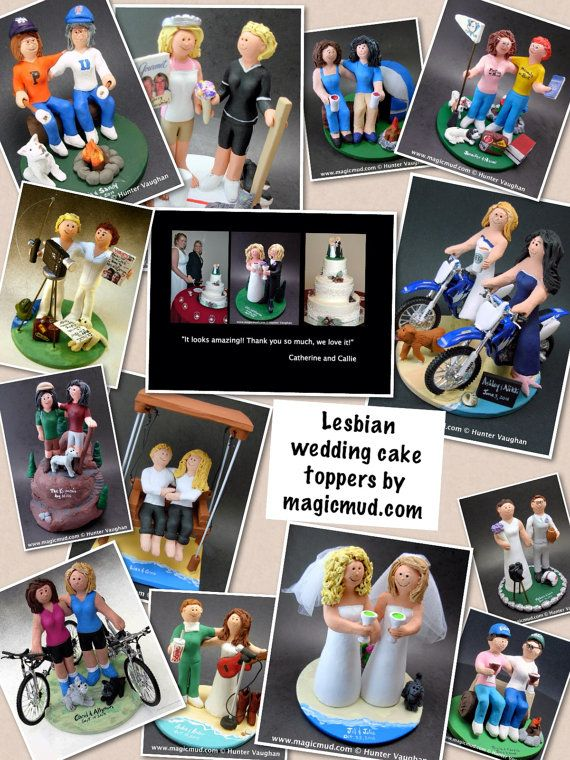Gay Brides Camping Lesbians Wedding Caketopper, Wedding Cake Topper for Gay Women, Wedding Cake Topper for Two Women,gay marriage figurine    these were commissioned for gay brides marriages and wedding ceremonies involving two women.... be inspired by these examples and let us know what details would make the most memorable Lesbian wedding keepsake for you and yours!    $235 #magicmud 1 800 231 9814 www.magicmud.com