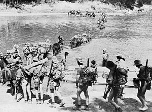 """The Chindits (officially in 1943 77th Indian Infantry Brigade and in 1944 3rd Indian Infantry Division) were a British India """"Special Force"""" that served in Burma & India in 1943 & 1944 during the Burma Campaign in WWII. They were formed into long range penetration groups trained to operate deep behind Japanese lines."""