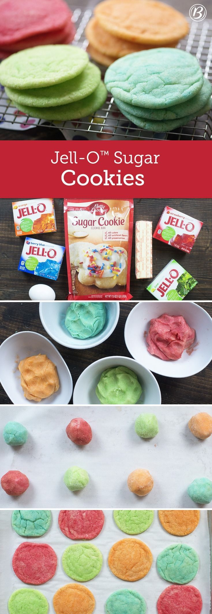 Simple sugar cookies get a burst of color and a burst of flavor thanks to Jell-O™️! Top with Betty Crocker™️ Rich & Creamy rainbow chip frosting for an extra-sweet treat!