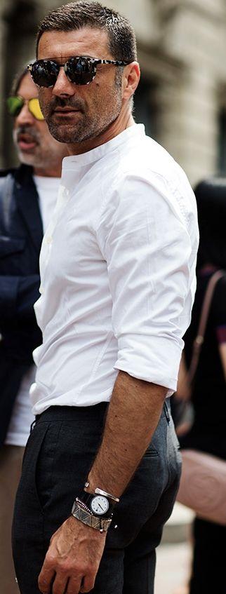 Collarless shirt.... Ideal for a smart Spring/Summer look