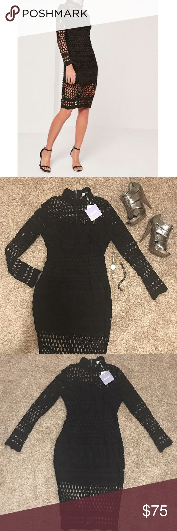 Missguided NWT Fishnet Midi Dress Brand new with tags! Beautiful and intricate lace fishnet pattern all over. Dress is lined to the upper thigh, with slit in back. Long sleeves with choker-like neckline. Good quality zipper in back. US 4 UK 8. Missguided Dresses Midi