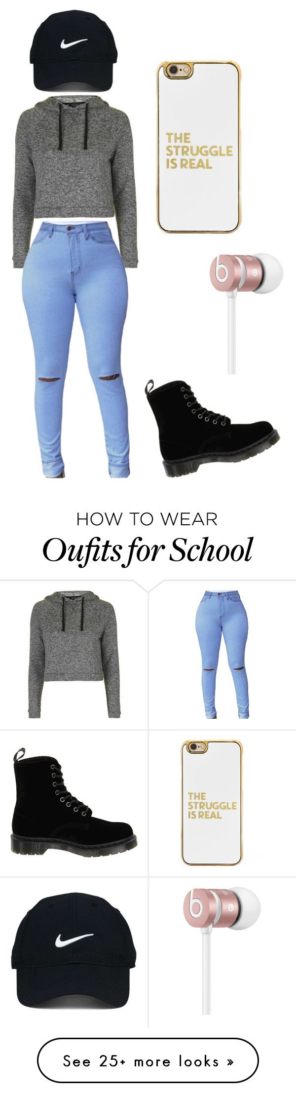 """""""First Day of School"""" by goldilocks7 on Polyvore featuring Topshop, Nike Golf, BaubleBar, Dr. Martens and Beats by Dr. Dre"""