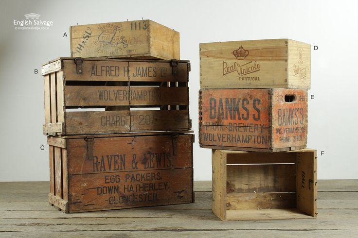 Salvaged wooden drink crates.