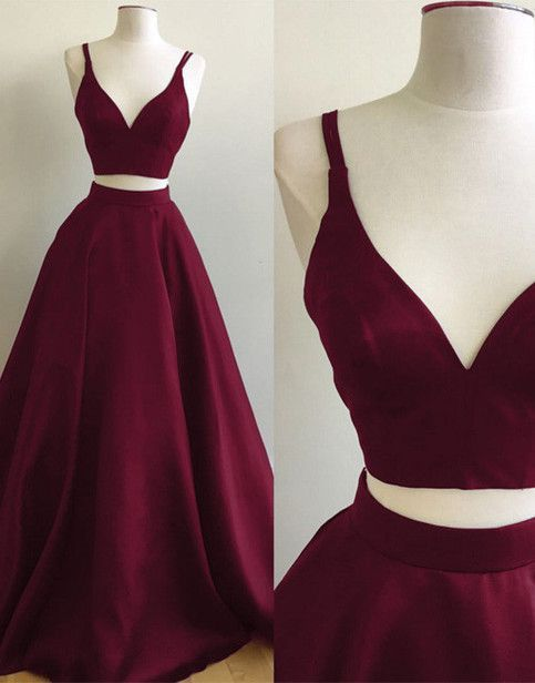 Simple A-Line Two-Piece V-Neck Burgundy Long Prom/Evening Dress sold by dressthat. Shop more products from dressthat on Storenvy, the home of independent small businesses all over the world.