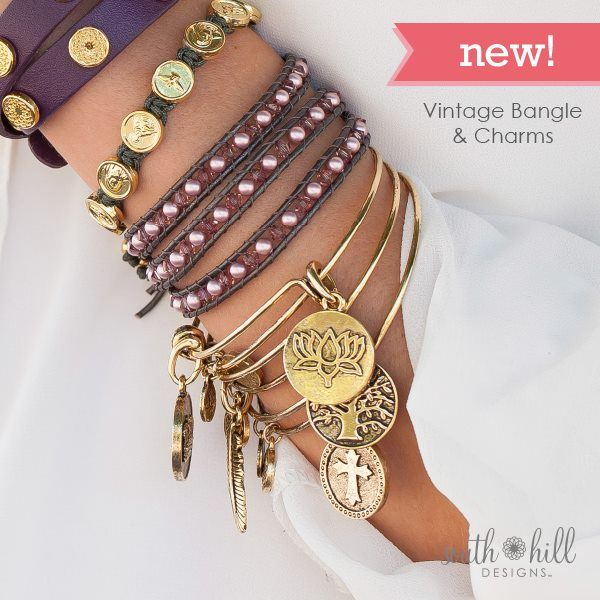 from top to bottom Our Eggplant Leather Wrap, Our gold Trinity Bracelet, our Amethyst Pearl Wrap Bracelet, and our Vintage Bangle with charms