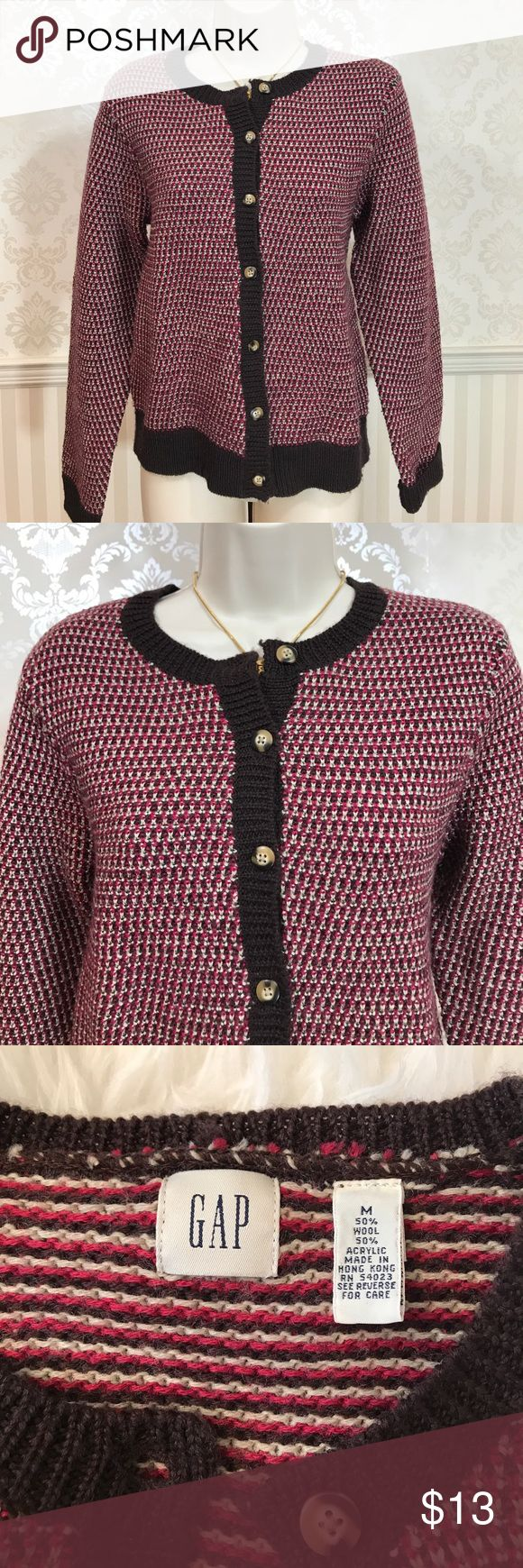 """GAP Wool-Blend Red & Brown Cardigan GAP wool-blend red and brown woven cardigan in excellent condition. Would be terrific for fall and winter! Tortoiseshell buttons. Bust is about 36,"""" length is approximately 22."""" 50% wool, 50% acrylic. Size M. GAP Sweaters Cardigans"""