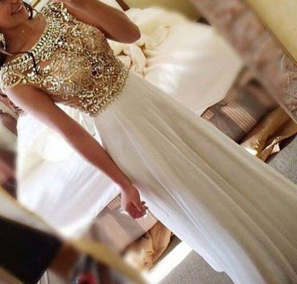 dress long dress gold and beige long dress w sparkly dress sparkle gold and…