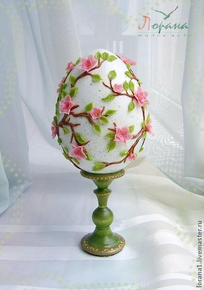 """Пасхальный сувенир. Яйцо """"Вишня в цвету"""". - Пасха,подарки к праздникам"""