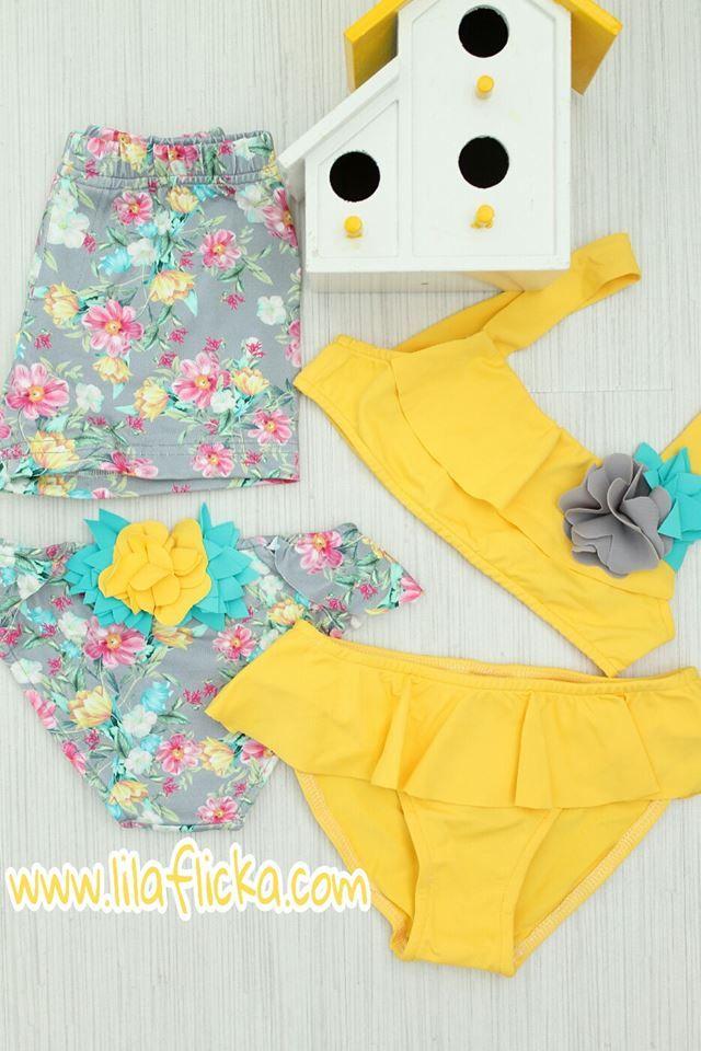 Bikini Niña Amarillo Liso Con Volante Y Adorno De Flor Turquesa Bikini Para Niñas Ropa Para Niñas Niños