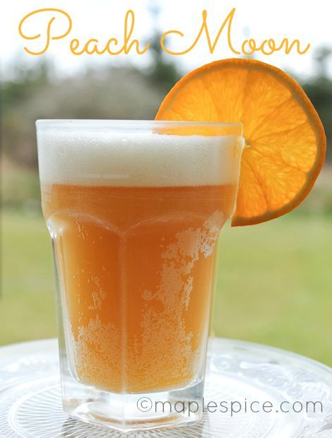 Peach Moon - Blue Moon beer peach schnapps and orange juice. Perfectfor summer around the pool.