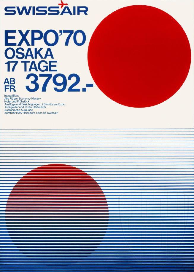 SWISSAIR POSTER 1970 EXPO'70