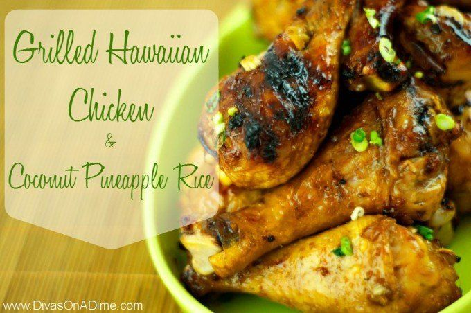 Take a mini vacay to the islands with this crazy delicious pineapple marinade for grilled chicken and tropical flavored rice as the perfect accompaniment. The big secret is: no one will believe how easy it was. Hula dancing is optional but highly recommended. Aloha!