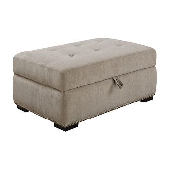 Sofa Sale GREY LINEN OTTOMAN WITH HIDDEN SLEEPER