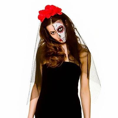 Day of the Dead BLACK VEIL Red Flowers Halloween Ladies Mexican Fancy Dress