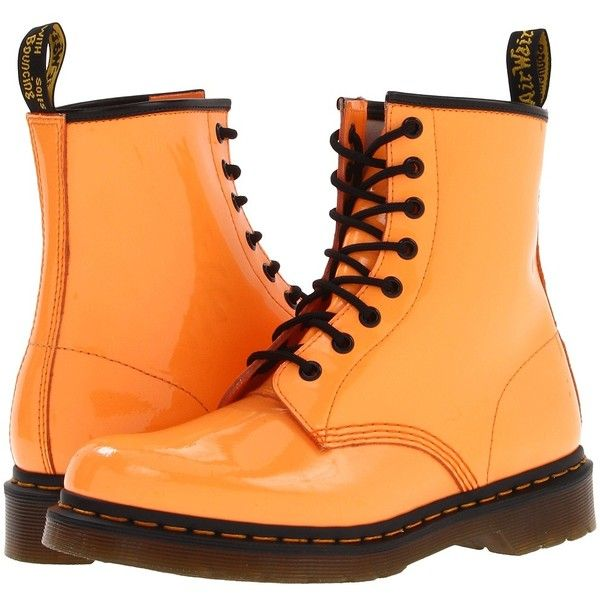 Dr. Martens 1460 W ($91) ❤ liked on Polyvore featuring shoes, boots, ankle booties, dr. martens, orange, ankle boots, acid orange patent lamper, low heel ankle boots, short heel boots and dr martens boots