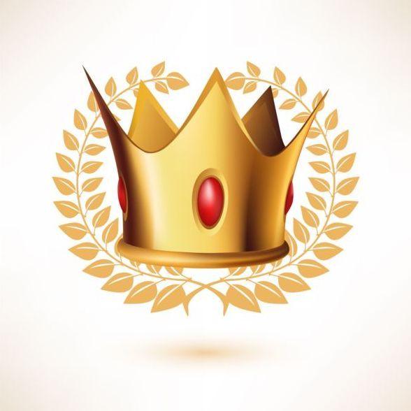 Couronne D Or Avec Lauriers Et Le Vecteur De La Gemme Rouge Eps Gratuits Deposer Une Couronne Doree Avec Laurel Et Telecharg Golden Crown Vector Free Vector