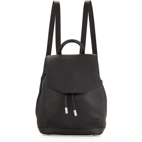 Rag & Bone Pilot Mini Leather Backpack found on Polyvore featuring bags, backpacks, accessories, bolsos, black, leather bags, leather flap backpack, mini backpack, genuine leather backpack and black leather bag