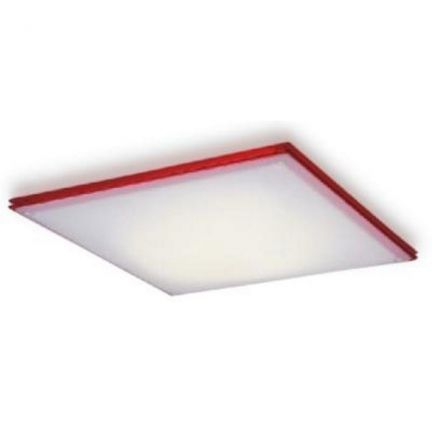 Light And Living White And Red Sleek Flush Mount Ceiling Light - These sleek and square shaped flush mount ceiling lamps are perfect for your modular kitchen. The white fiber glass has a strip of red running around it. A single piece of CFL bulb is enough to illuminate this lamp.